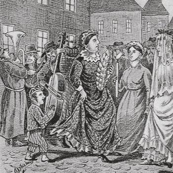 Vintage cartoon showing klezmer band (detail)