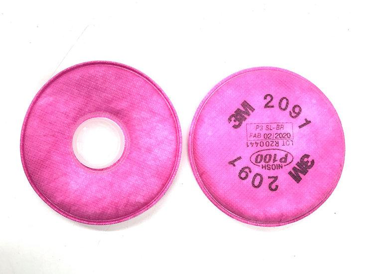 3M 2091 P100 Filter Cotton x10 Pack (20 Cotton) (FFP3)