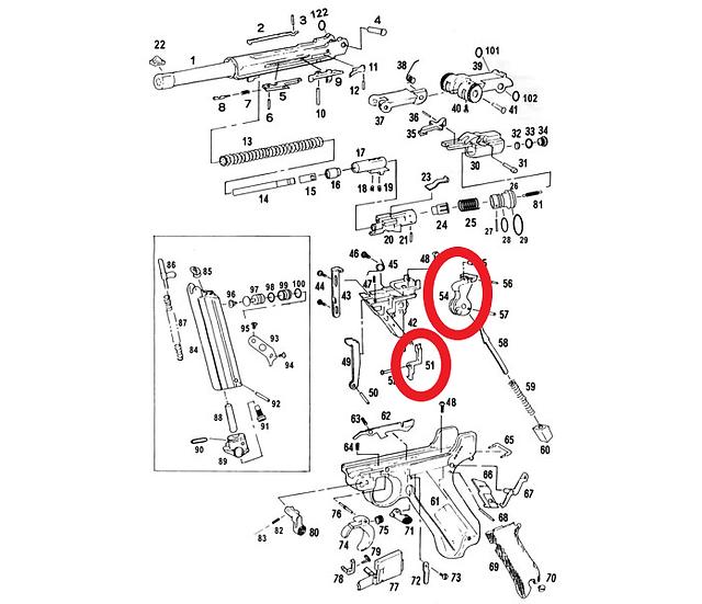 WE Luger P08 Parts 51, 54