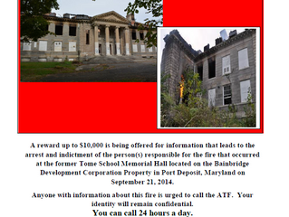 REWARD being offered in conjunction with Memorial Hall Fire.
