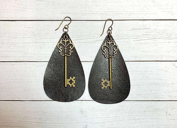 Brown Leather Key Earrings - Donation of $15