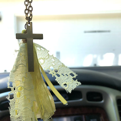 Yellow Fringe + Cross Car Freshener - $15