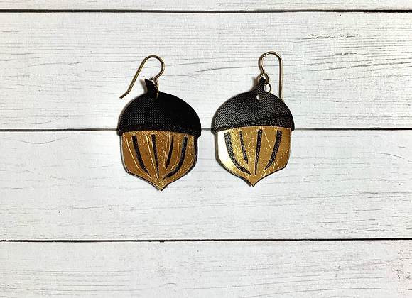 Brown Leather Acorn Earrings - Donation of $20