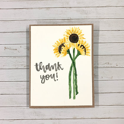 'Thank You' Handmade Watercolor Card - Donation of $7