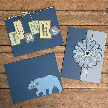 """Simply Blue""  Handmade Cards - 3/set - Donation of $10"