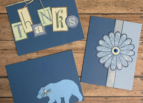 """Simply Blue""  Handmade Cards - 3/set - Donation of $10"