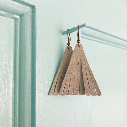 Gray Leather Earrings - Donation of $12