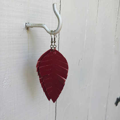 Red Leather Earrings - Donation of $12