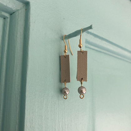Leather Earrings with Pearl - Donation of $12