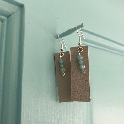 Leather Earrings with Beads - Donation of $12