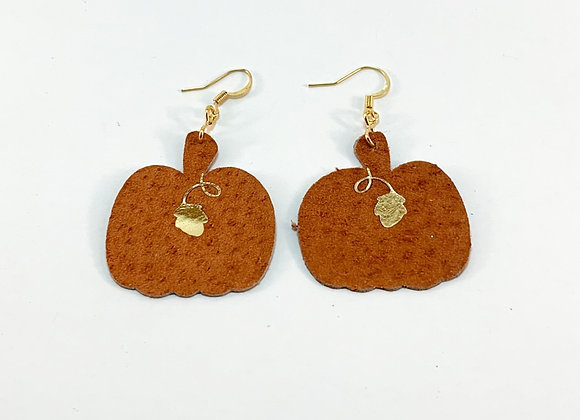 Pumpkin Leather Earrings - Donation of $12