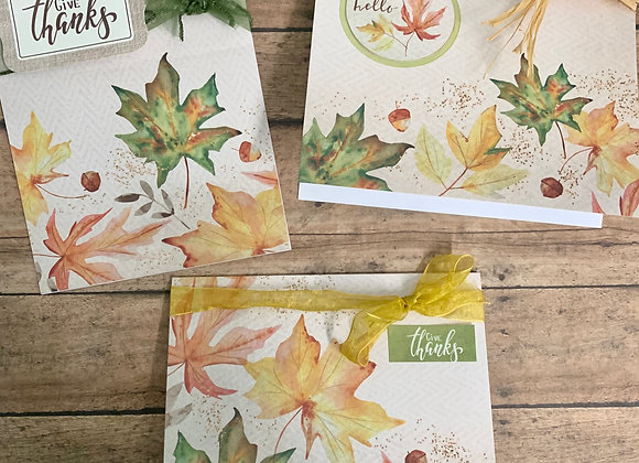 'Ribbons of Fall' Handmade Cards - 3/set - Donation of $10