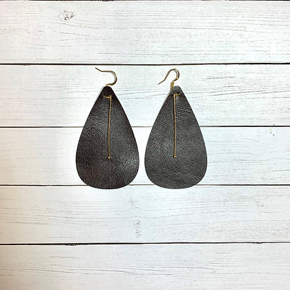Brown Leather with Gold Dangle Earrings - Donation of $12