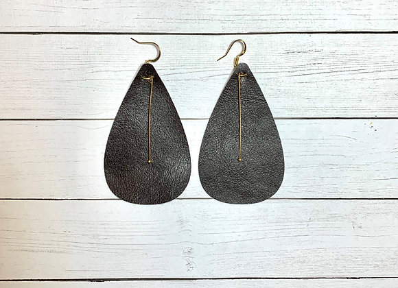 Brown Leather with Gold Dangle Earrings - Donation of $20