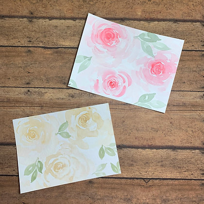 Floral Watercolor Note Cards - 5/set - Donation of $10