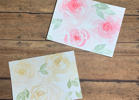 Floral Watercolor Note Cards - 5/set - Donation of $25