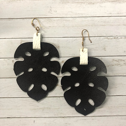 Leaf Leather Earrings - Donation of $12