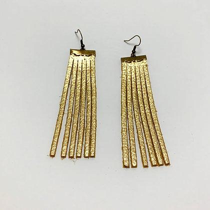 Gold Leather Fringe Earrings - Donation of $15