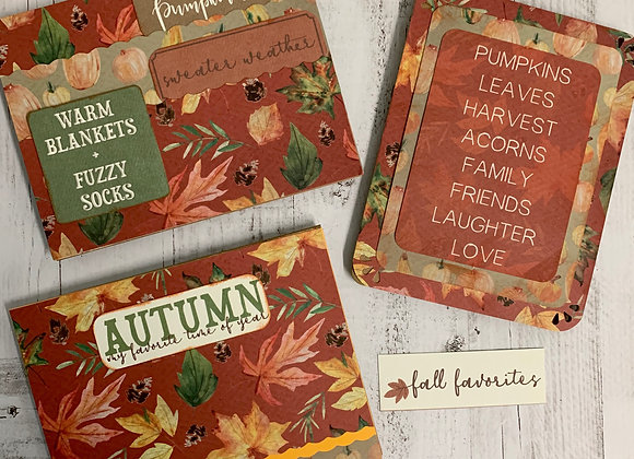 'Fall Favorites' Handmade Cards - 3/set - Donation of $10