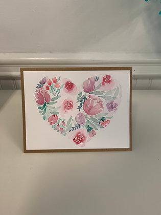 Flower Heart Card - 3/set - Donation of $10