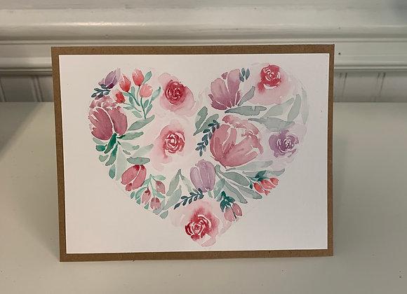 Flower Heart Card - 3/set - Donation of $25
