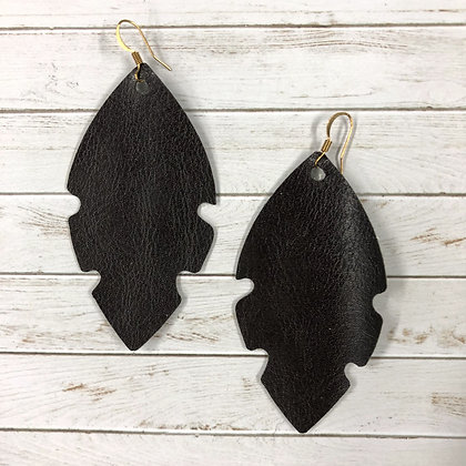 Dark Brown Leather Feather Earrings - Donation of $12