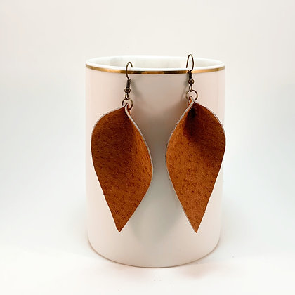 Leather Leaf Earrings - Donation of $15