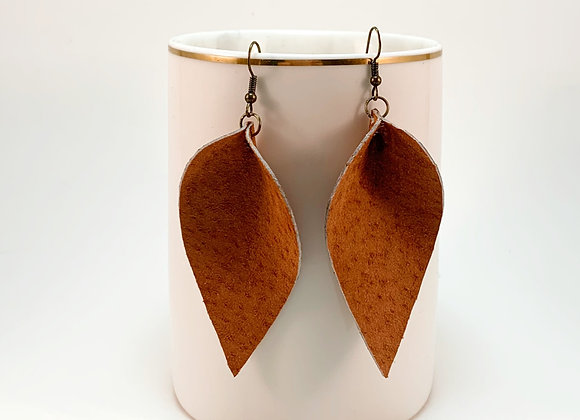 Leather Leaf Earrings - Donation of $20