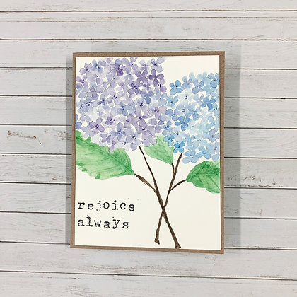'Rejoice Always' Handmade Watercolor Card - Donation of $7
