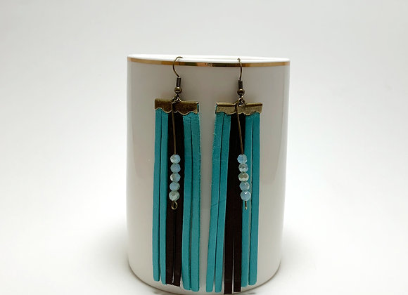 Aqua & Brown Leather Fringe Earrings - Donation of $20