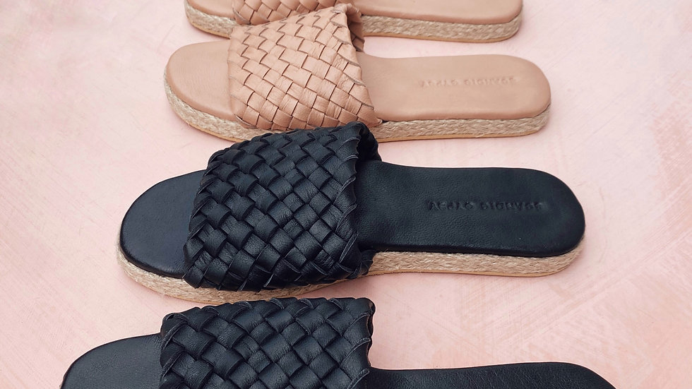 Cloud Woven Leather Slide