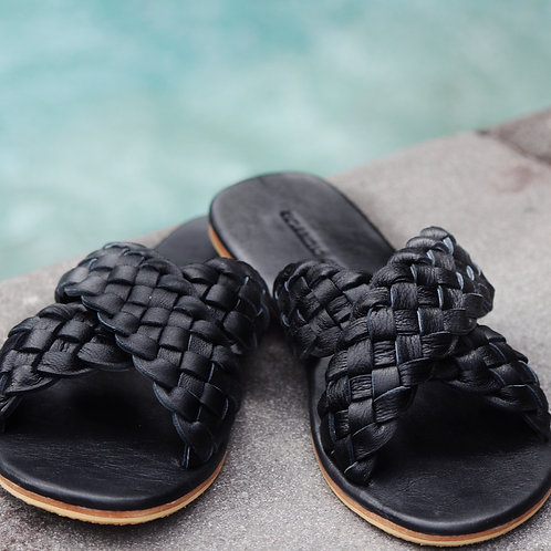 Woven Leather Maja Sandal -Black
