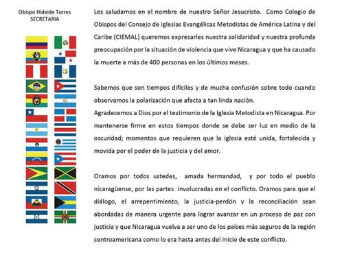 Consejo de Obispos y Presidentes del Ciemal sobre la situación de violencia en Nicaragua