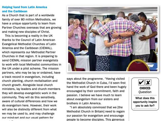 La asociación misionera de Ciemal con la Iglesia Metodista Británica es noticia