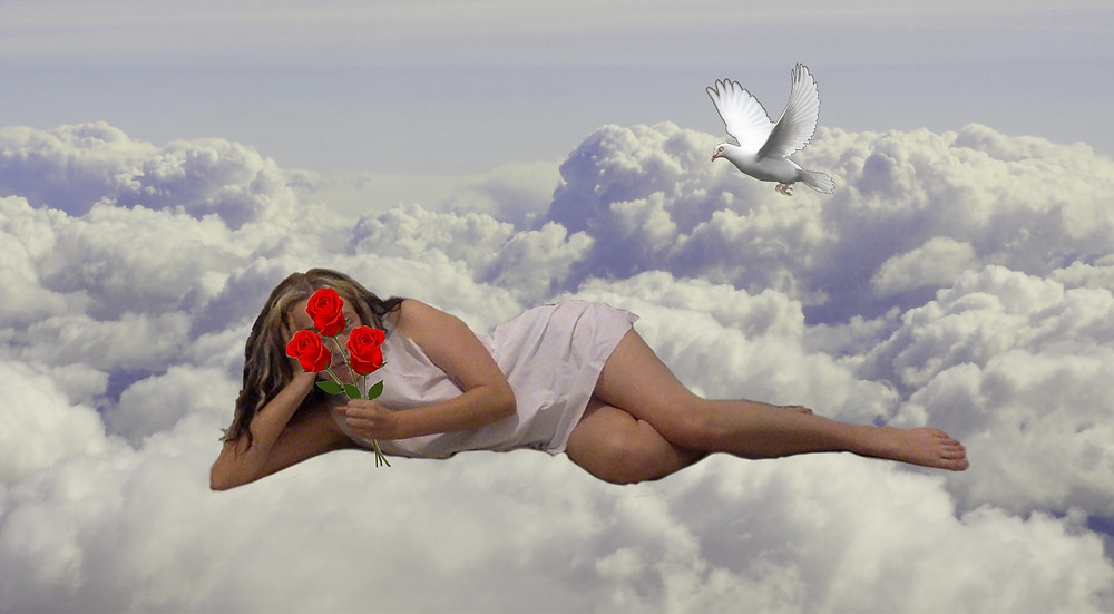 In the centre of the image a young woman is laying on a bed of white and purple clouds. She is holding a bunch of red roses that have been photoshopped into her hand. The roses conceal her face. Above her is a dove in flight.