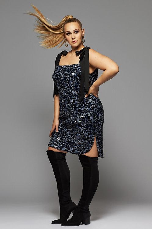 MONACO DRESS in Black/Blue