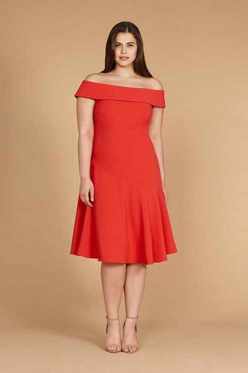 MILANO DRESS IN CORAL