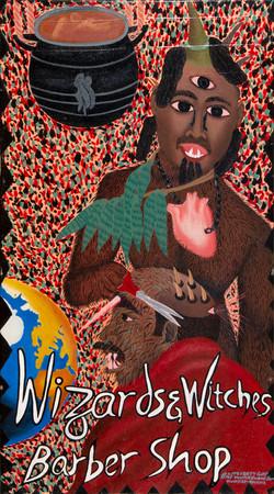 Wizards & witches barber shop, acrylique sur toile, 86,5 x 48,5 cm