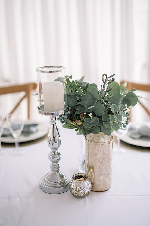 Tall Glass and Silver Candle Holders