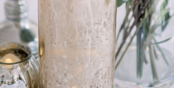 Gold Speckled Hurricane Candle Holders
