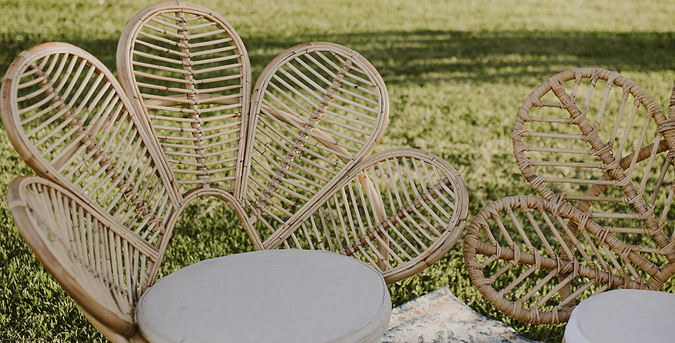 Cane Petal Chairs - Natural & White