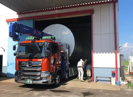 8mのタンク 運搬・据付作業