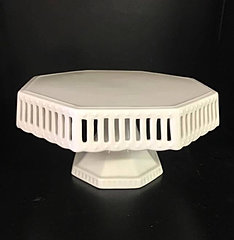 lg ceramic white hexagon cake stand