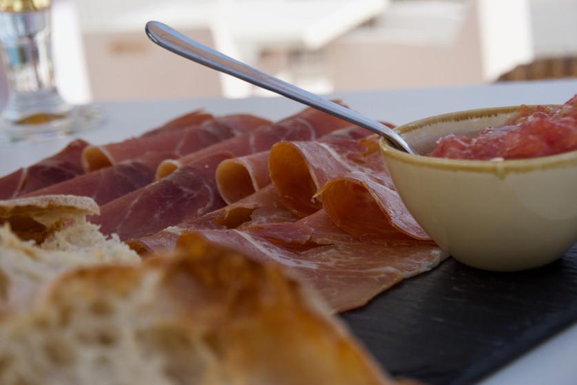 Tasty serrano ham