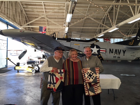 Presentation of Veteran Quilts of Honor to General Don Harvel and his dad WWII Veteran Dean Harvel.