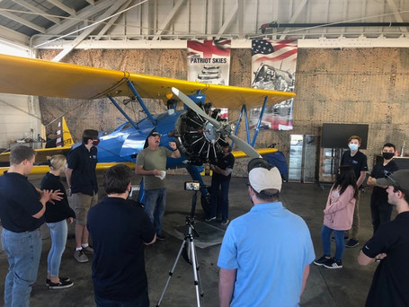 Ben York teaching the Young Eagles about Stearman airplanes and radial engines.