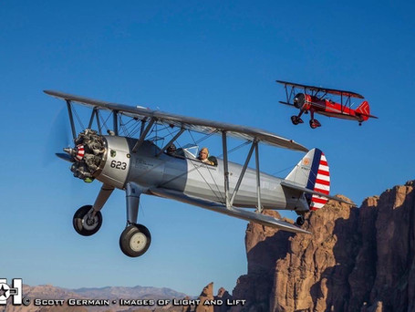 Photography clinic by Scott Germain highlighting WOFF airplane and member Mike Doyle in WOFFs Stearman and Mike Doyle's red Stearman.
