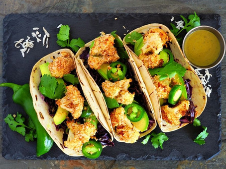 Mini Cauliflower Tacos with Lime Pickle Yogurt and Wilted Greens