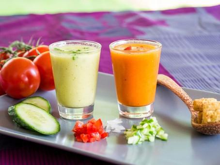 Duo of Spanish Cold Soups: Salmorejo & Ajo Blanco, Pickled Red Prawns, Grape Air