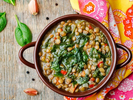 Vegan Creamy Lentils with Spinach